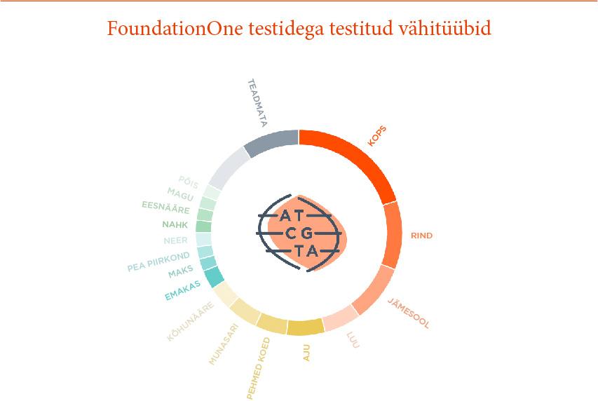 FoundationOne testidega testitud vähitüübid